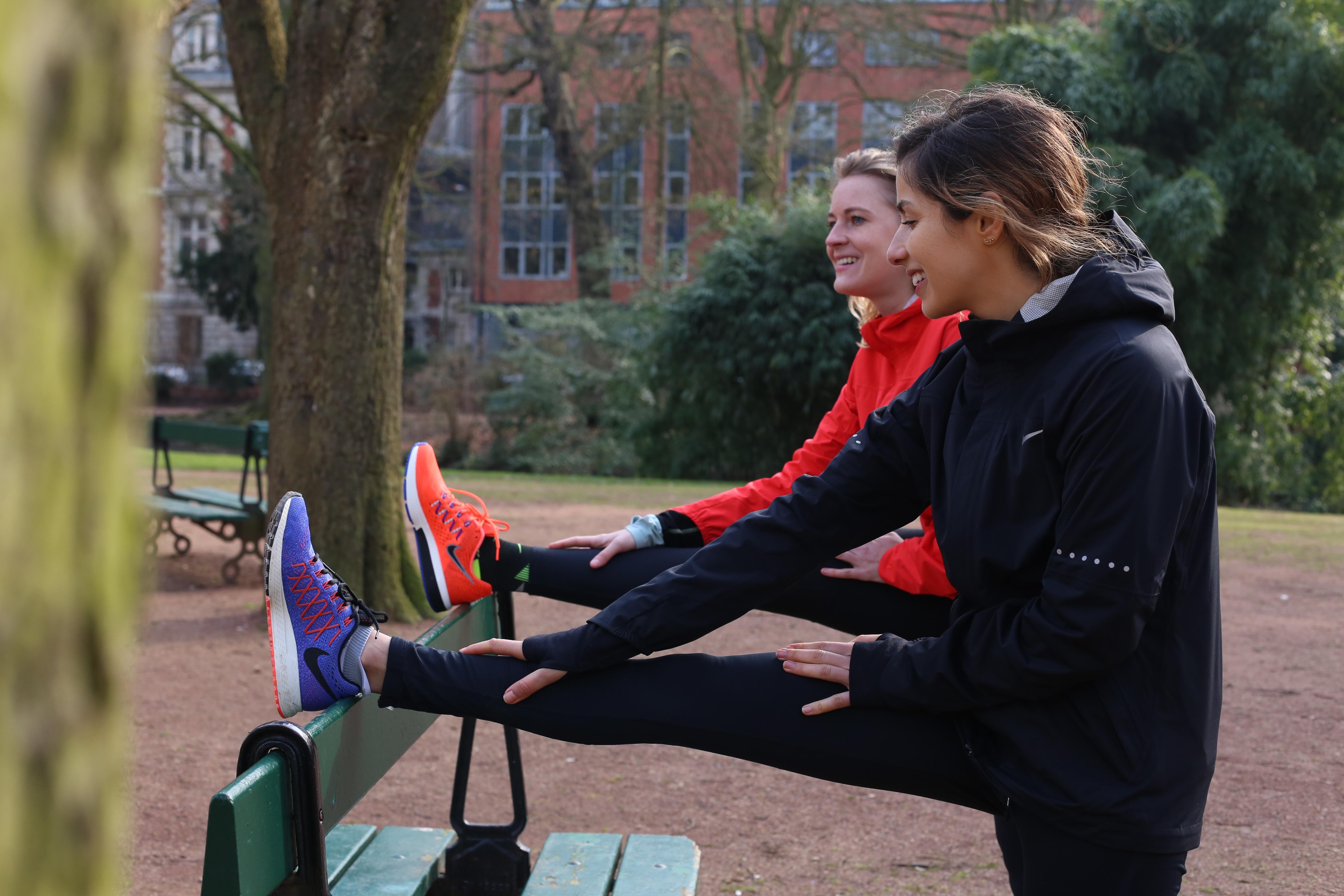 étirement après entrainement marathon avec nos nouvelles runnings