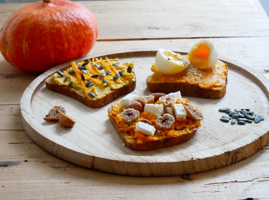 trio de Pumpkin Toast toast au potimarron