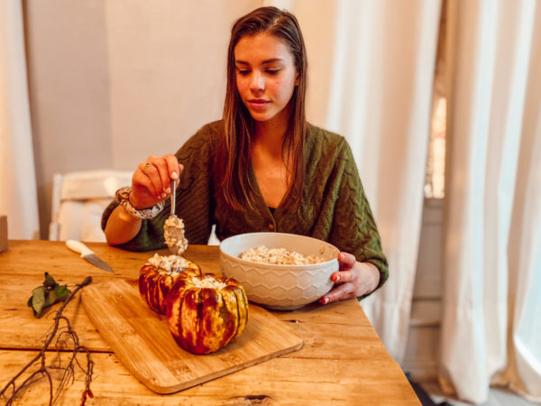 recette-de-noël-vegan-courge-farcie-au-risotto-champignon